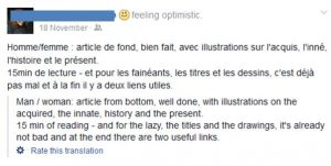 Example of translation done by facebook